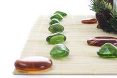 Groene en oranje stenen voor kuuroord Stock Fotografie