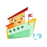 Groene en Oranje Stoomboot, Leuke het Beeldverhaalillustratie van Girly Toy Wooden Ship With Face Stock Foto's
