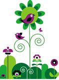 Groene en purpere bloemen met vlinder en vogels Stock Foto's