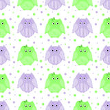 Groene en purpere gestreepte uilen Stock Foto's