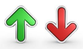 Groene en rode 3d pijl - geef terug Stock Foto