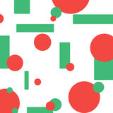 Groene en rode abstracte geometrische cirkels en rechthoeken, Royalty-vrije Stock Afbeeldingen