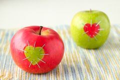 Groene en rode appel Stock Afbeelding