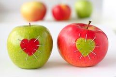 Groene en rode appel Stock Fotografie
