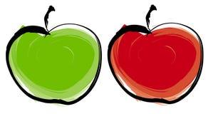 Groene en rode appel royalty-vrije illustratie