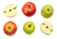 Groene en rode die appelen op witte achtergrond worden geïsoleerd Hoogste mening Royalty-vrije Stock Foto's