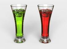 Groene en Rode Dranken royalty-vrije stock afbeelding
