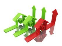 Groene en rode huizen stock illustratie