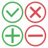Groene en rode knopen Groen vinkje en rood kruis Groen plus en rood minus Vector stock illustratie