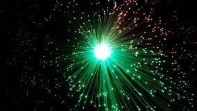 Groene en rode optische vezelkabels met glanzende uiteinden stock foto's