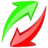 Groene en rode pijlen Glanzende 3d Webpictogrammen Boven en beneden in cirkelmotie vector illustratie