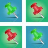 Groene en Rode Speld Stock Afbeeldingen