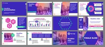 Groene en roze elementen voor infographics op een blauwe achtergrond Presentatiemalplaatjes Hexagon element Gebruik in vlieger royalty-vrije illustratie