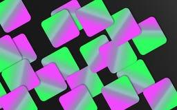 Groene en roze overlappende vierkantenachtergrond - Abstract geometrisch vormenbehang vector illustratie