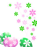 Groene en roze paaseieren Stock Foto
