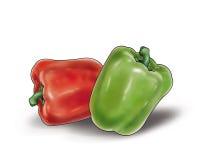 Groene en Spaanse pepers op wit Royalty-vrije Stock Afbeeldingen