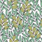 Groene en turkooise elegante bladeren met aders naadloos patroon, vector stock illustratie
