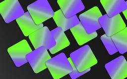 Groene en violette overlappende vierkantenachtergrond - Abstract geometrisch vormenbehang vector illustratie
