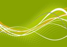 Groene en witte golvende lijnen Stock Foto's