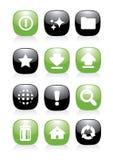 Groene en zwarte pictogramknoop Stock Fotografie