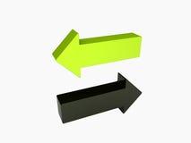 Groene en zwarte pijlen Stock Afbeeldingen