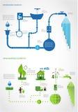 Groene energie, de grafiekinzameling van de ecologieinformatie Stock Foto