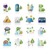 Groene energie en milieupictogrammen Stock Foto's