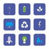 Groene energie en recyclings geplaatste pictogrammen Royalty-vrije Stock Afbeelding