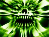 Groene enge monsterschedel Illustratie in genre van verschrikking royalty-vrije illustratie