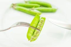 Groene erwten in bonen op vork Royalty-vrije Stock Foto's