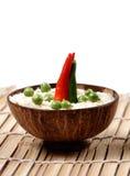 Groene erwten en basmati rijst Royalty-vrije Stock Afbeeldingen