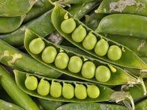 Groene erwten in peul Stock Foto's