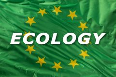 Groene Europese Unie vlag als teken van organisch biovoedsel of ecologie stock afbeeldingen