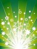Groene explosieachtergrond met vele sterren Stock Afbeelding