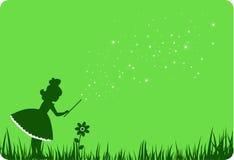 Groene fee en bloem. Stock Afbeeldingen