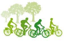 Groene fietsersilhouetten Royalty-vrije Stock Afbeelding
