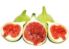 Groene fig. die op wit worden geïsoleerdl Stock Foto