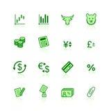 Groene financiënpictogrammen Stock Foto