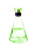 Groene fles parfum Royalty-vrije Stock Foto's