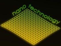 Groene fluorescente nanotechnologietekst Royalty-vrije Stock Foto