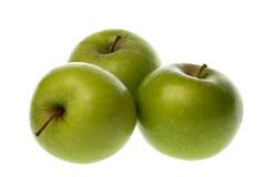 Groene Geïsoleerdeg Appelen Stock Foto's