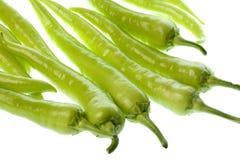 Groene Geïsoleerdes Spaanse pepers Royalty-vrije Stock Foto's