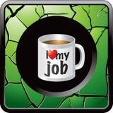 Groene gebarsten Webknoop met koffiemok vector illustratie