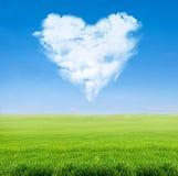 Groene gebieds blauwe hemel met bewolkt hart Stock Afbeelding