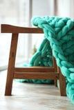 Groene gebreide merinoswoldeken Stock Afbeeldingen
