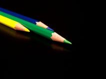 Groene, gele, blauwe potloden Royalty-vrije Stock Fotografie