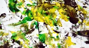 Groene gele donkere contrasten, de achtergrond van de verfwaterverf, abstracte het schilderen waterverfachtergrond royalty-vrije stock afbeelding