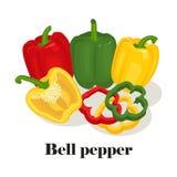Groene, gele en rode groene paprika Royalty-vrije Stock Foto