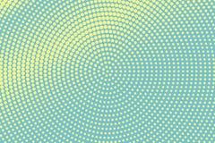 Groene gele gestippelde halftone Radiale ruwe gestippelde gradiënt Halftintachtergrond stock illustratie