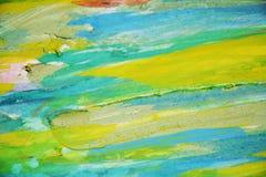 Groene gele modderige plonsen, vlekken, de creatieve achtergrond van de verfwaterverf Stock Afbeelding